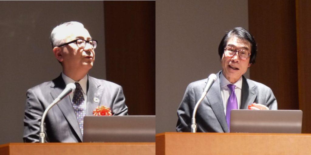 基調講演を行う手代木氏(左)と伊藤センター長(右)